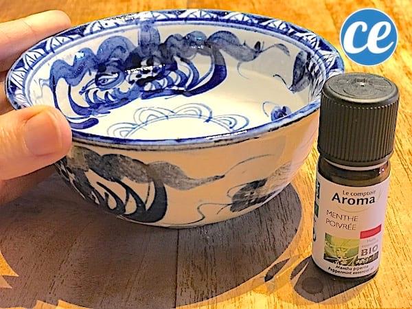 remède pour nez bouché avec une inhalation à l'huile essentielle de menthe poivrée