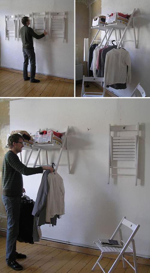Des chaises sont recyclés pour en faire des étagères de rangement