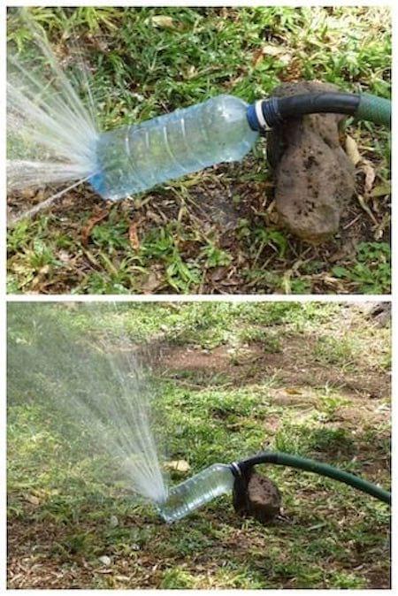 arroseur jardin avec bouteille plastique recyclée