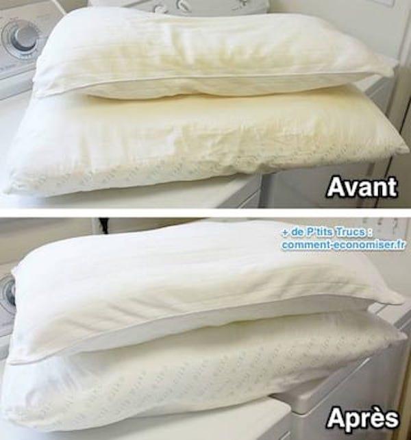 Oreiller jauni ? l'astuce pour laver, nettoyer et blanchir des oreillers
