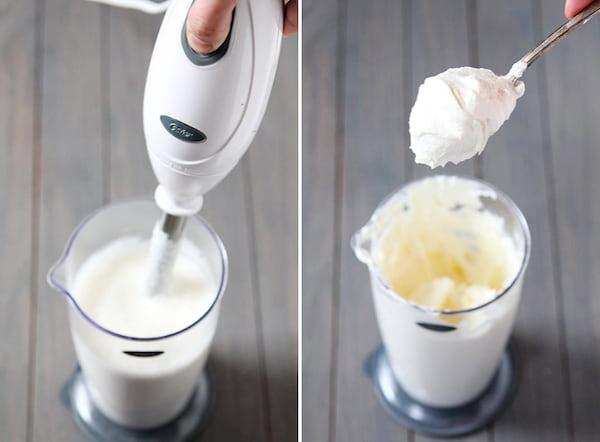 Voici un truc génial pour faire de la délicieuse crème chantilly maison en 30 secondes chrono. L'astuce est d'utiliser un mixeur plongeant à la place du fouet électrique.