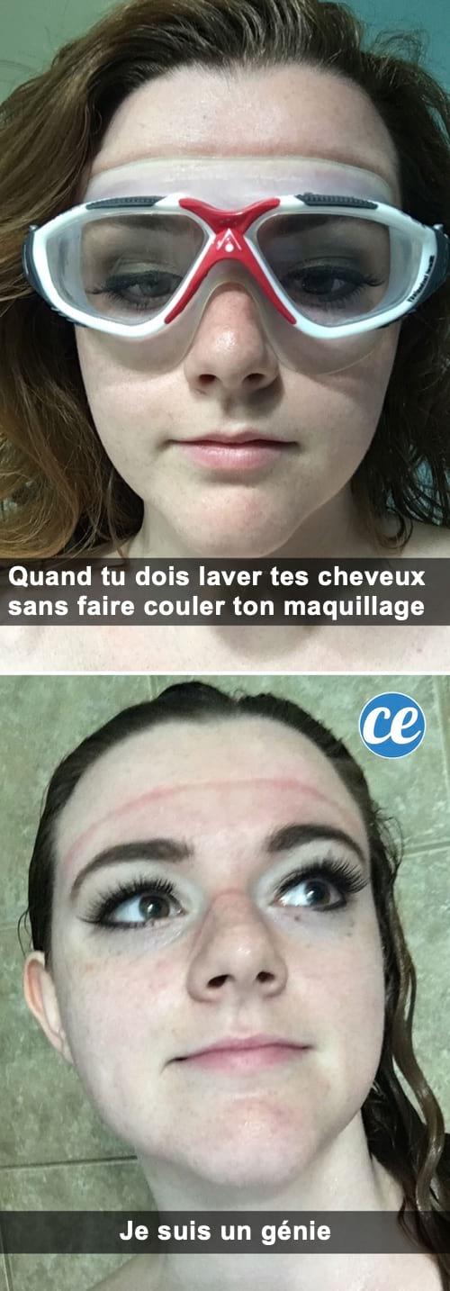 Des lunettes de piscine pour protéger le maquillage sous la douche