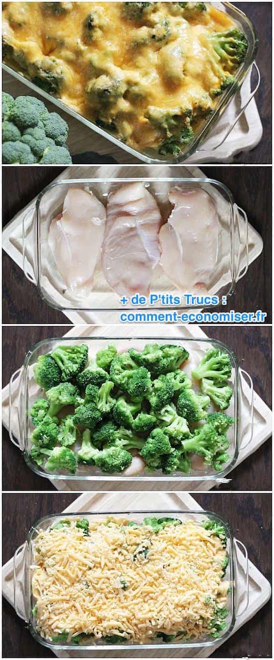 les étapes pour faire un gratin poulet brocolis fromage