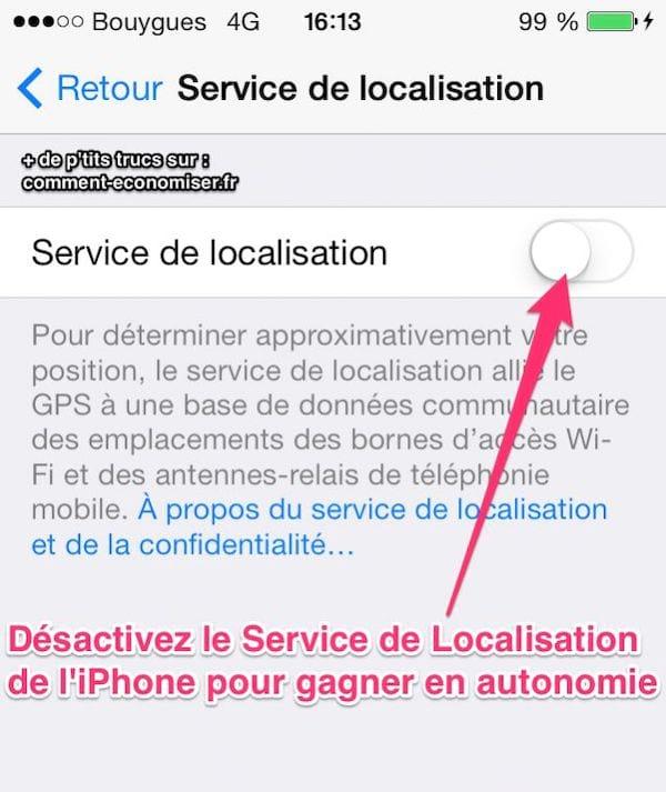 enlever service de localisation iphone 6 Plus