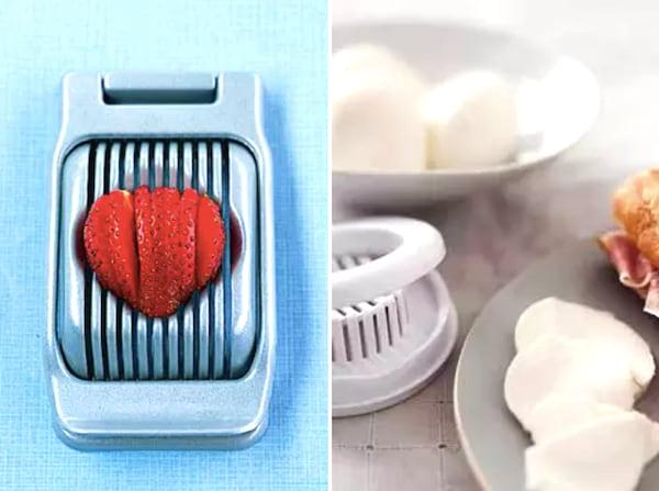 Super astuce de cuisine : pour couper les fraises et la mozzarella en tranches, utilisez un coupe-œuf !
