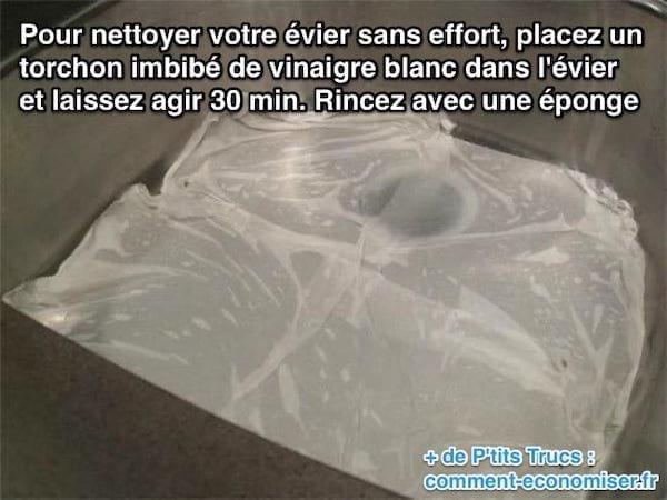 Utiliser du vinaigre blanc pour faire briller l'évier