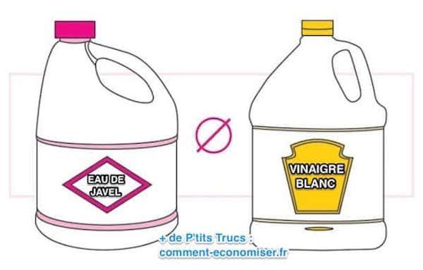 Ne jamais mélanger du vinaigre blanc et de l'eau de javel