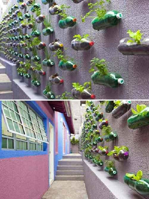 créer jardin suspendu avec bouteille recyclée