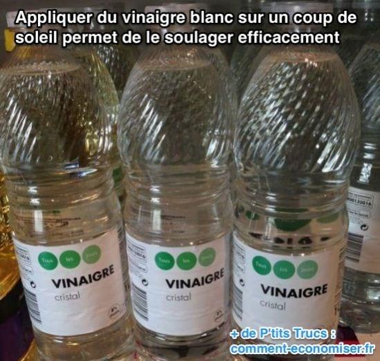 Appliquer du vinaigre blanc sur un coup de soleil permet de le soulager efficacement