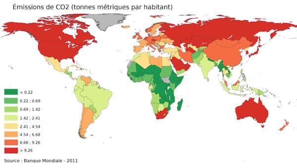 Carte du monde des émissions par habitant