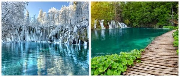 À gauche les lacs gelés en hiver et à droite les lacs en été