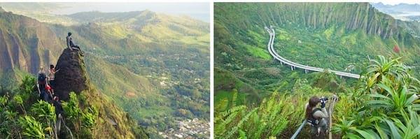 Paysage d'hawaii vu de l'escaler avec les montagnes derrière