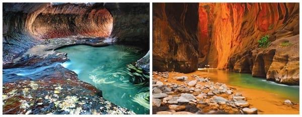 Rivières dans les canyons américains de Zion en Utah