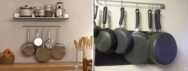 Une barre de cuisine murale pour accrocher les casseroles
