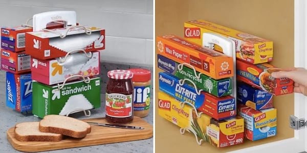 Un rangement pratique pour les rouleaux d'emballage