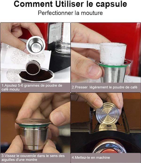 Étapes pour utiliser les capsules rechargeables