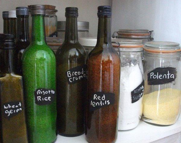 Bouteilles en verre recyclées en contenant pour aliments