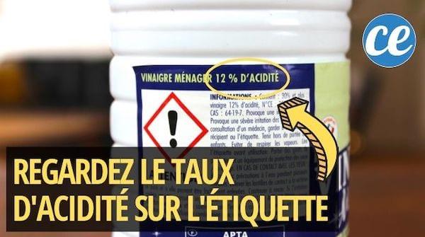 Les dosages en pourcentage indiqués sur le vinaigre mesurent son acidité.