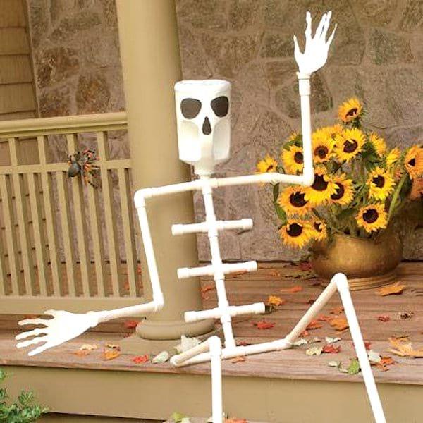 déco squelette halloween tuyau PVC