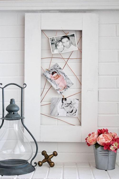 cadre photo avec fil de cuivre