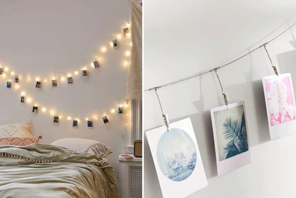 Belles photos de famille accrochées sur une guirlande lumineuse