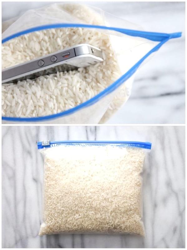 faire sécher un téléphone mouillé dans le riz