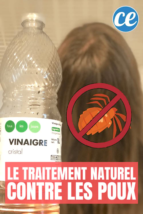 Une bouteille de vinaigre blanc pour lutter contre les poux et les lentes dans les cheveux bruns en second plan
