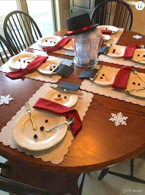 Plusieurs assiettes faisant des bonhomme de neige