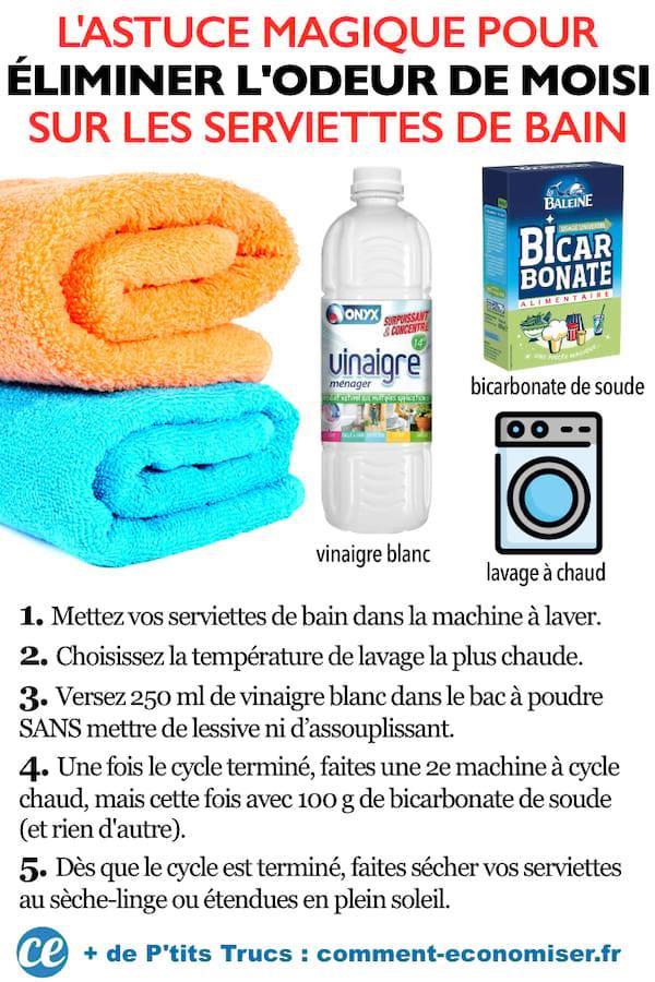 L'astuce magique pour éliminer l'odeur de moisi sur les serviettes de bain : vinaigre blanc + bicarbonate de soude + lavage à chaud.