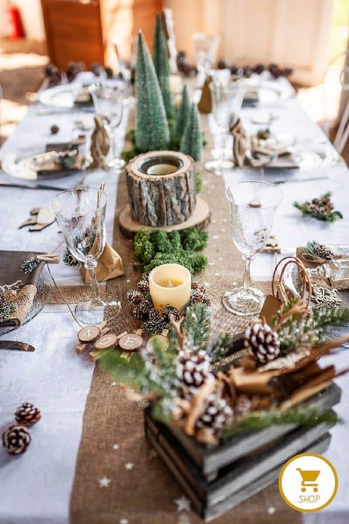 Table avec minis sapin