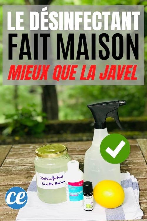 Un désinfectant maison naturel fait avec de l'eau oxygénée, du citron et des huiles essentielles