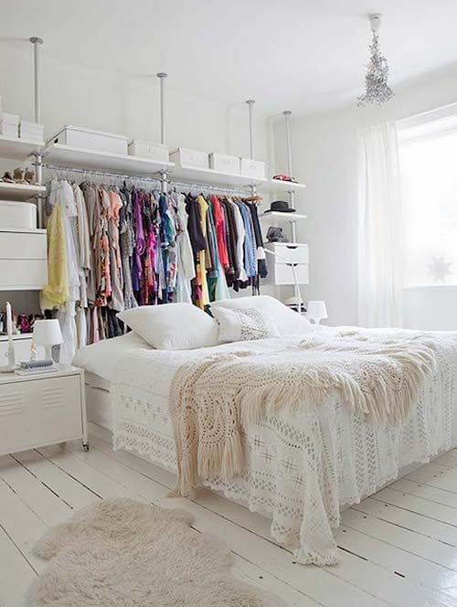 Dressing derrière lit deux places blanc