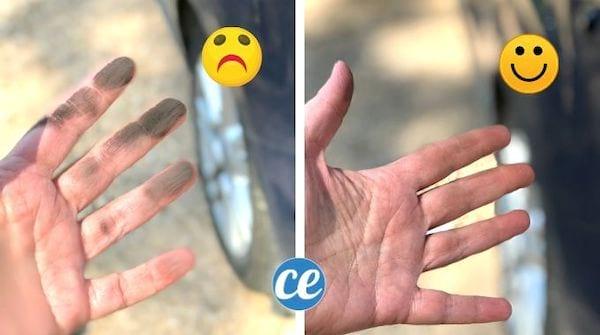 Mains sales devenues propres après les avoir nettoyées avec du bicarbonate et de l'herbe