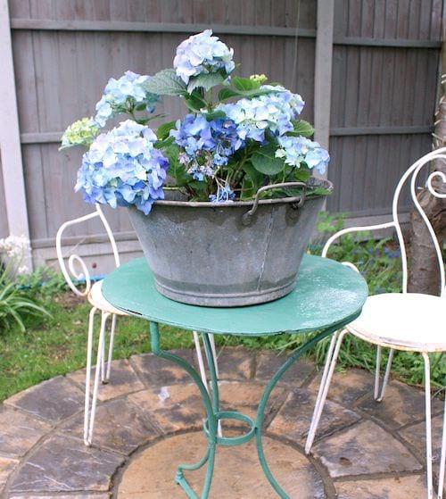 bassine en zinc sur une table de jardin recyclée en pot de fleur