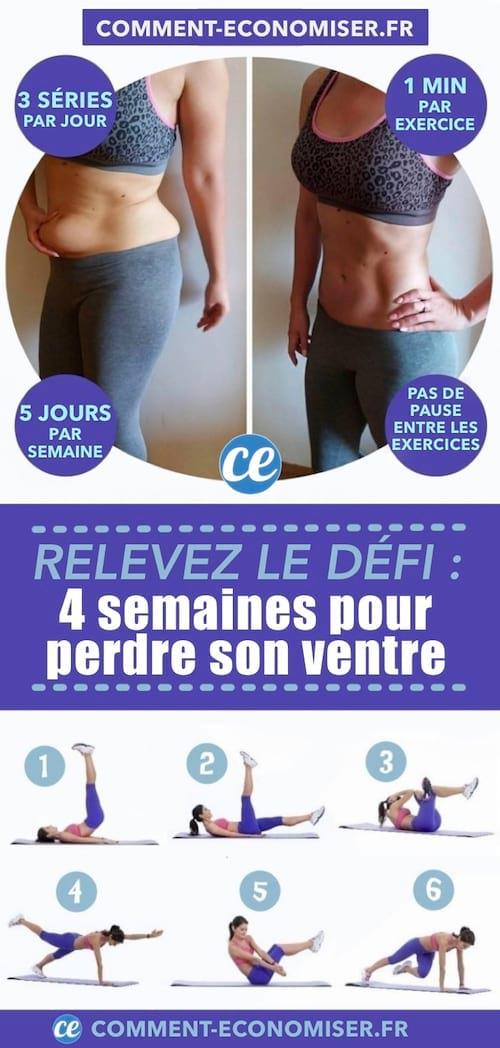 Série d'exercices pour perdre du ventre et avoir des abdos musclés en 4 semaines