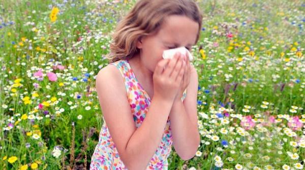 Una bambina allergica in un campo di fiori che starnutisce e si soffia il naso