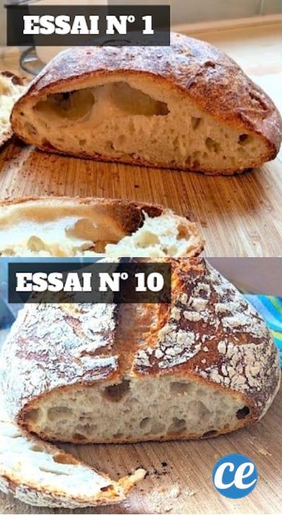 Du bon pain fait maison, avec la première tentative à haut et la dixième en bas.