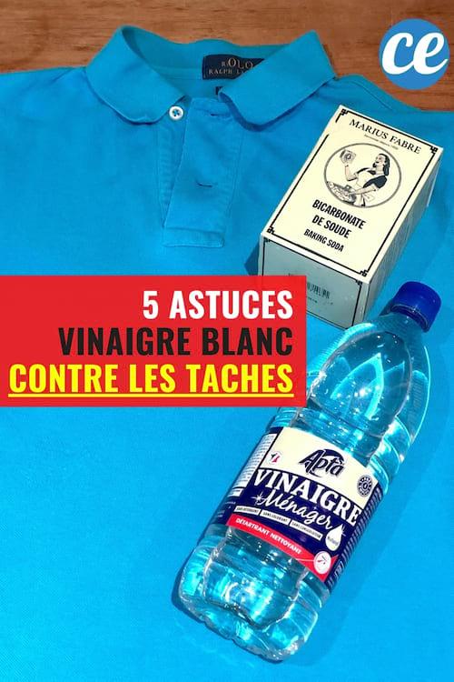 Un t-shirt bleu avec du vinaigre blanc et du bicarbonate pour enlever les taches