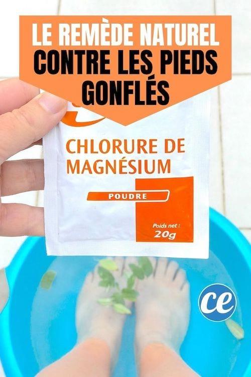 un bain de pieds avec du chlorure de magnésium et de la sauge pour soulager les pieds gonflés