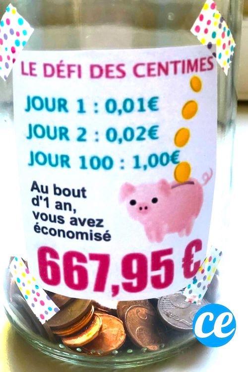 """Un pot avec une étiquette """"le défi des centimes"""" pour faire des économies"""
