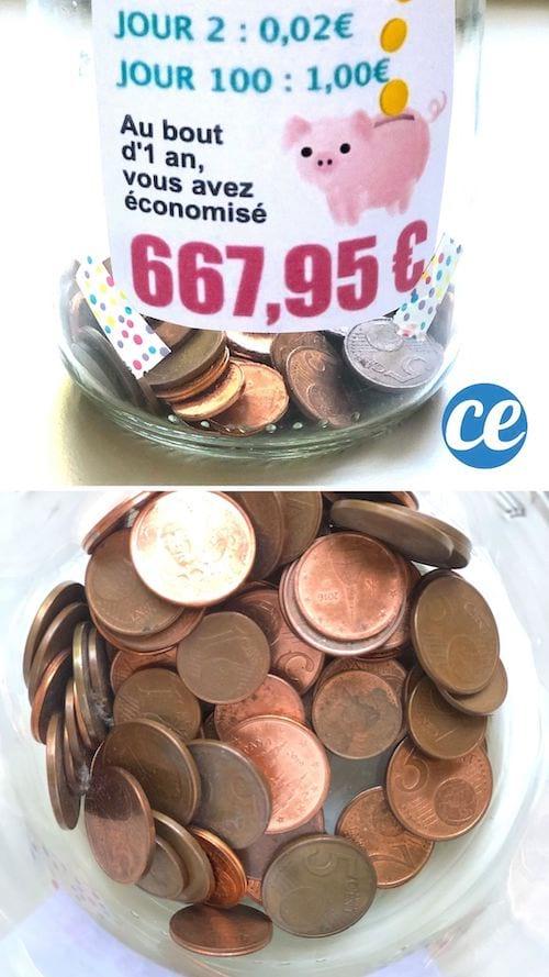 Boca avec des centimes dedans et une étiquette pour faire le défis des centimes pour économiser
