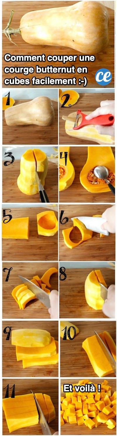 L Astuce Pour Couper Une Courge Butternut En Cubes Facilement