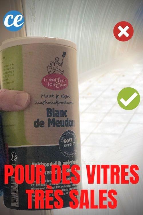 Du blanc de Meudon pour nettoyer des vitres très sales