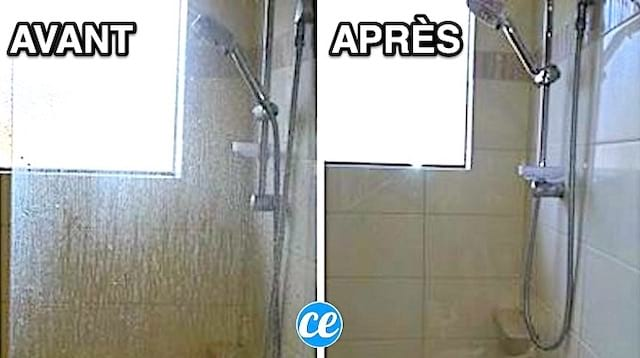 une vitre de douche pleine de calcaire à gauche et toute propre à droite