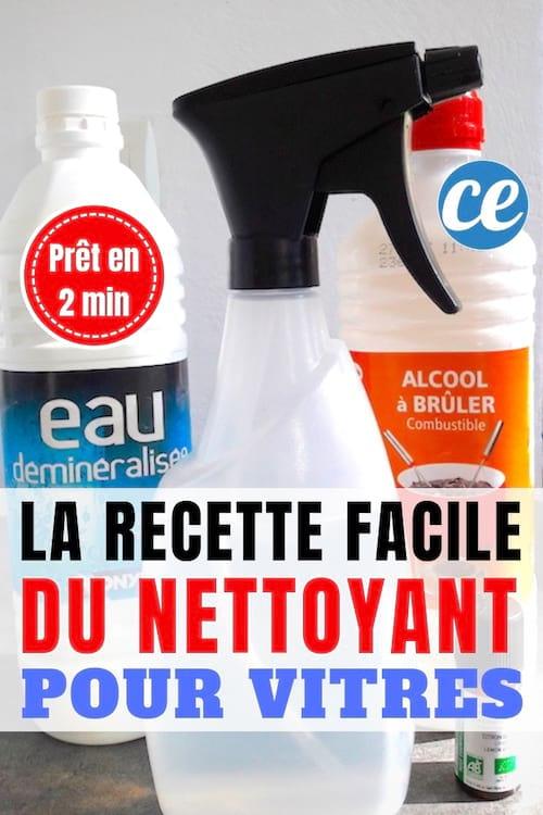 Un spray fait maison pour nettoyer les vitres sales avec de l'eau déminéralisée et de l'alcool à brûler