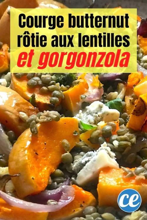courge butternut rôtie aux lentilles et gorgonzola