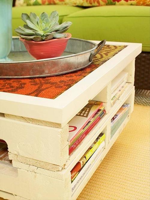 Palette blanche transformée en table basse