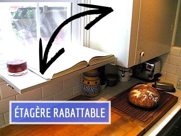 Utilisez une étagère rabattable au-dessus du plan de travail pour gagner de la place dans votre cuisine.