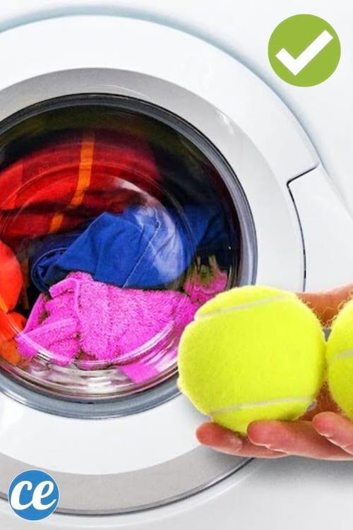 Mettez des balles de tennis dans votre machine pour assouplir le linge.