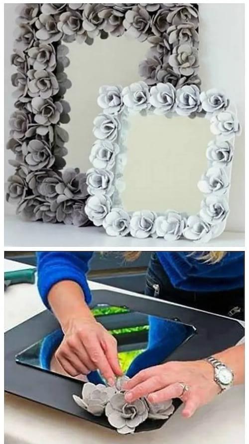 Un cadre de miroir fait avec des boites d'oeufs